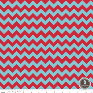 Riley Blake Small Chevron Zygzak Aqua/Red