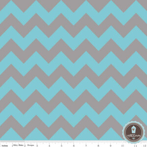 Riley Blake Medium Chevron Szary Z Turkusem