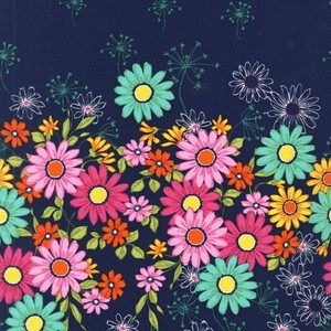 Michael Miller Doodle Daisy Border Navy