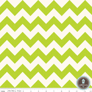 Riley Blake Le Creme Chevron Ecru/Lime