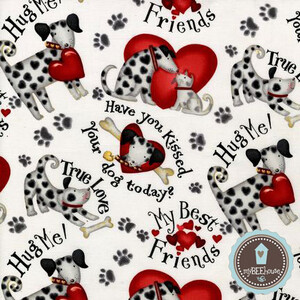 Robert Kaufman Cute to Boot Love Dogs (outlet)
