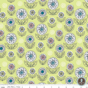 Riley Blake Dutch Treat Kwiaty Green