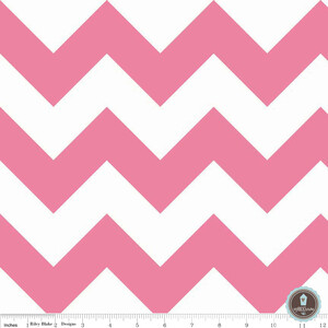 Riley Blake Large Chevron Pink White