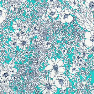 Robert Kaufman Laurel Canyon Kwiaty Aqua