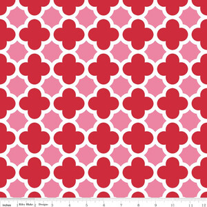 Riley Blake Quatrefoil Hot Pink/Red