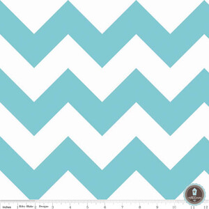 Riley Blake Large Chevron Turquise White