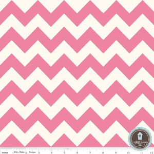Riley Blake Le Creme Chevron Ecru/Hot Pink