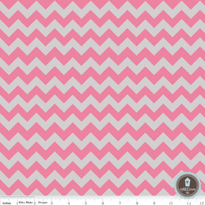 Riley Blake Small Chevron Zygzak Hot Pink/Gray