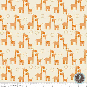 Riley Blake Giraffe Crossing Żyrafy Orange