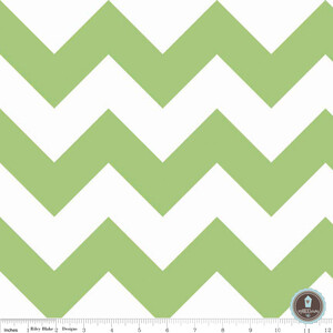 Riley Blake Large Chevron Green White