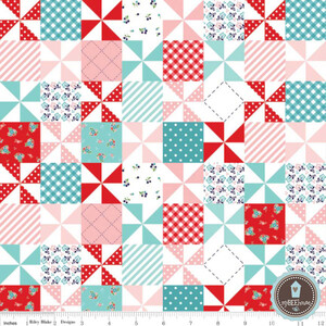 Riley Blake Country Girls Patchwork Aqua/Red